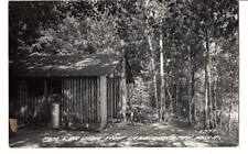 RPPPC real photo Tam's on little Wolf Lake, Lewison, Mich. log cabin cottage#