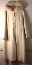 stunning WILSON LEATHER long elegant cream white hoodie faux suede coat $495 XL