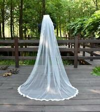 2016 New Ivory 3M Long Bridal Veils Lace Edge Wedding Veil With Comb