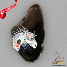 NEW! HAND PAINTED HORSE AGATE SLICE GEMSTONE NECKLACE PENDANT ZP80 00028