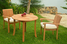 3 PC DINING TEAK SET GARDEN OUTDOOR PATIO FURNITURE POOL NAPA ARM DECK CHAIRS
