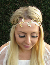 Gold Fabric Leaf Headpiece Grecian Boho Headband Festival Elastic Hair Band 1808
