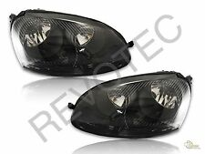 2006-2009 VW Rabbit Jetta GTI Black Housing Halogen Headlights RH & LH
