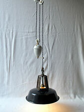 Antique / Vintage French Rise & Fall Ceiling Light - Black Enamel Shade.