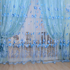 Floral Tulle Voile Door Window Curtain Drape Panel Sheer Scarf Valances Balcony