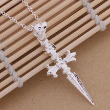 Ladies / Men 925 Sterling Silver Cross Chain Crucifix Gothic Necklace Pendant