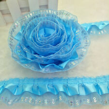 5yards 3-Layer 45mm Wide Organza Lace Gathered Pleated sequined Trim Skyblue O73