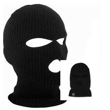 3 Hole Full Face Ski Mask Beanie Cap Mens Womens Hat Black Winter Balaclava Hood