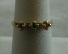 Three Stone Multi Color Stone Solitaire Ring Size 6.75