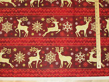 Stonehenge Reindeer Prance Red Sampler Christmas Northcott Fabric by the 1/2 Yrd