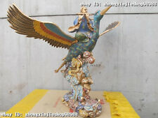 100% Pure Bronze cloisonne Taoist priest God ride Crane flying in the sky Statue