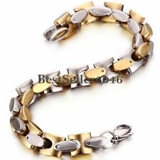 Men's Stainless Steel Gold and Silver Tone Link Chunky Chain Bracelet  Wristband