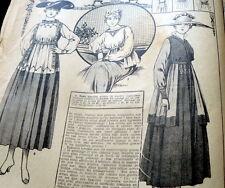 VTG 1910s PARIS FASHION & SEWING PATTERN MAGAZINE LA MODE 1917 +TRANSFER PATTERN