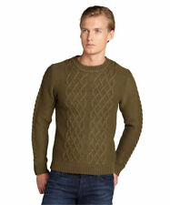 SLATE & STONE The Forest Army Green Thick Soft Cashmere Blend Cable Sweater XL