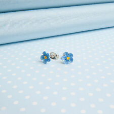 single Forget me not  earrings FLOWER JEWELLERY  Made in Wales UK Handpainted