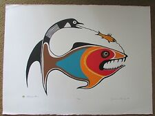 JACKSON BEARDY 1944 - 1984 Woodlands artist signed & numbered STURGEON CLAN