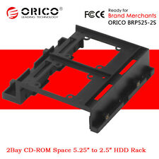 "ORICO 5.25"" CD-ROM Space to 2Bay 2.5"" 3.5"" SSD Hard Disk Drive Converter Bracket"