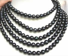 long 7-8MM BLACK AKOYA Cultured PEARL NECKLACE 100 Inch
