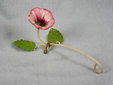 Vintage Morning Glory Painted Metal Tole Candle Snuffer -  Italy