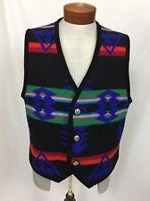 Vtg Western Wear Wool Southwestern Print Vest Sz XL Tribal Concha Buttons Men's