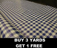 Royal Blue Small Gingham chequered Tablecloth Vinyl PVC Oilcloth Fabric Material