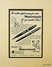 Vintage Advertisement mounted ready to frame Waterman's Fountain Pen 1949