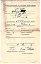Schulzeugnis Mädchenberufsschule Hamburg Wilhelmsburg 1922 (B)