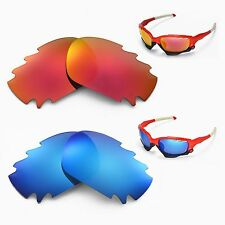 New Walleva Polarized Fire Red + Ice Blue Vented Lenses For Oakley Racing Jacket