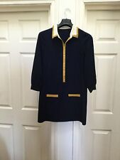 whistles, shift dress, 60s, size 12, navy, vintage, Mod