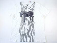 RC RON CHERESKIN WHITE 2XL STRIPED ZEBRA ART TSHIRT MENS NWT NEW