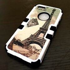 For iPhone SE 5S HARD&SOFT RUBBER HYBRID IMPACT ARMOR CASE PARIS EIFFEL TOWER