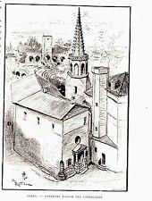 GRAVURE SUR BOIS DE ROBIDA 19ème ARLES ANCIENNE EGLISE DES CORDELIERS