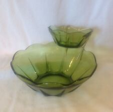 Vintage Anchor Hocking Green Glass Chip and Dip Set