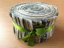 JELLY ROLL STRIPS 100% COTTON PATCHWORK FABRIC GREEN 40 PIECES