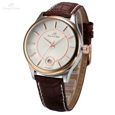 KS Luxury Rose Gold White Date Leather Automatic Mechanical Men Wrist Watch
