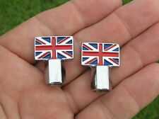 ~ BRITISH FLAG VALVE CAPS PAIR suit BSA TRIUMPH NORTON *New & Unique* Tire Nuts