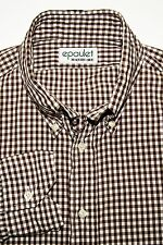 epaulet Custom Made Men's Button Down Shirt Brown Gingham Fits Large USA Made