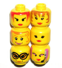 LEGO 6 Yellow Girl MINIFIGURE HEADS City/Female/Lips/Glasses/Princess NEW