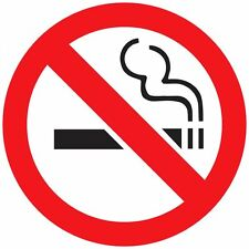 "4"" x 4""  Clear No Smoking Round Vinyl Decal Sticker Label"
