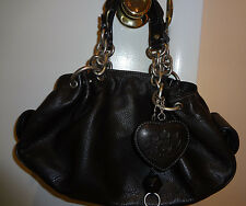 100% Leather Juicy Couture Black Handbag Purse with Key Chain & Mirror