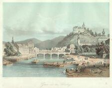 Graz, Ansicht mit dem Schlossberg, altkolorierter Original-Stahlstich ca. 1850