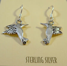 .925 Sterling Silver HUMMINGBIRD EARRINGS Dangle/Drop 925 NEW NV27