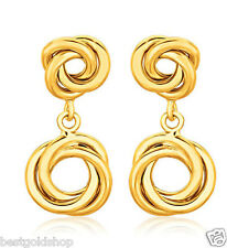 Double Love Knot Rosa Drop Stud Earrings Push Back Real 14K Yellow Gold