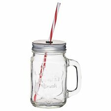 450ml Kitchen Craft Home Made Traditional Glass Drinks Jar with Straw KCHMGLSJUG