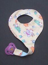 Binky Bib Pacifier Holder - BINKY INCLUDED! Yellow Babies Pattern