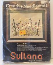 Meadow Birds Vtg Sultana Crewel Embroidery Kit Wildflowers Fence 16x20 32038 New
