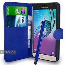 Blue Wallet Case PU Leather Book Cover For Samsung Galaxy J3 2016 Mobile Phone