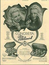 """Publicité Ancienne """" Parfum CONCRETA Molinard 1941 ( P 35 ) A. Pouprou"""