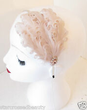 Nude Cream Vintage Feather Headpiece 1920s Headband Flapper 30s Great Gatsby k85