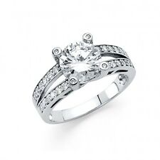 1.75 Ct Round Channel Split Shank Engagement Wedding Ring Solid 14K White Gold